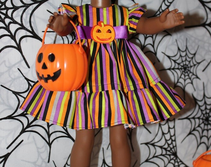 Handmade Halloween Multi Striped print Dress,Shoes Made for the  Dolls like American Girl, Wellie Wisher and Heart to Heart FREE SHIPPING