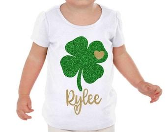 Girl Shamrock Shirt, personalized shamrock shirt, kids shamrock shirt, glitter shamrock shirt, st Patrick day shirt, st patricks outfit