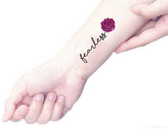 Fearless quote temporary tattoo / purple peony tattoo / floral illustration tattoo / vintage flowers and quotes / botanical wrist arm tattoo