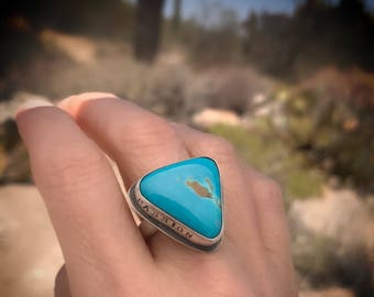 Genuine Nevada Turquoise Ring With Quote, December Birthstone Jewelry, Handcrafted In Sterling Silver, Inspirational Gift For Women.