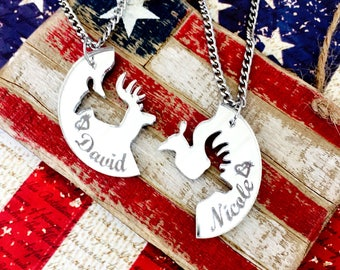 Laser Cut Mirrored Buck & Doe Interlocking Necklace (Personalized)
