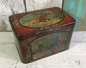 Shabby Beautiful Large Tea Tin, c 1900, Children at Bedtime, Large Red Box, Antique Tin Box, Primitive Distress PATINA, Antique Tea Tin