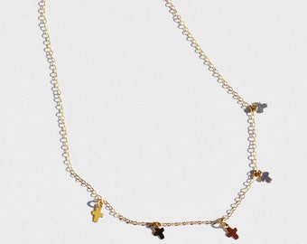14kt Gold Filled Cross Charm Choker