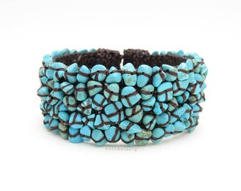 Howlite turquoise stone wire bangle with wrapped wax cord, blue stone bangle