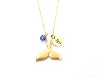 Gold Whale Tail Charm - Swarovski Birthstone - Custom Initial - Personalized Gold Necklace / Gift for Her