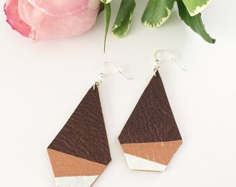 Leather earrings, handpainted earrings, painted leather, geometric earrings, dipped earrings, summer accessory, copper, bronze, pearl
