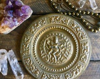 vintage brass wall plate Hindu Shiva boho wall decor 2 available