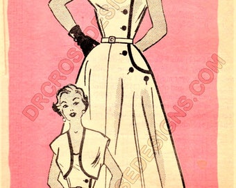 Anne Adams R4755 Misses' Vintage 1950s Mail Order Dress and Jacket Sewing Pattern
