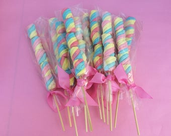 12 Marshmallow lollipop twisted, marshmallow skewer, marshmallow cabob