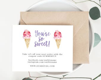 INSTANT Business Thank You Cards, Editable PDF Printable Packaging Inserts for Online Shops, Etsy Sellers, Summer Ice Cream Branding