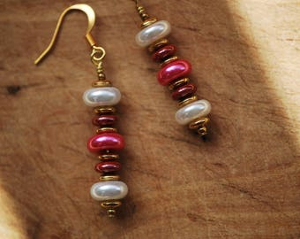 Ea-42  White pink and red glass faux pearl dangle earrings with your choice earring findings