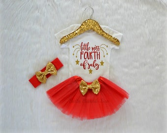 Little Miss 4th Of July Independence Day Outfit Tutu and HeadbandBaby girl red gold star glitter bodysuit Fourth of July 335