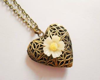 locket necklace - heart locket necklace - locket pendant - photo necklace - flower necklace - heart necklace - valentine's day