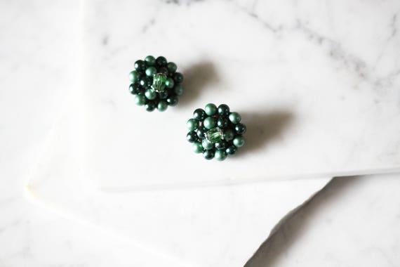 1960s green clump earrings // 1960s marked earrings // vintage earrings