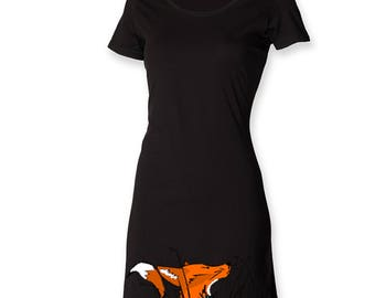 Fox tshirt dress, painted dress, little black dress, longline tee shirt, ladies tee dress, funky mini dress