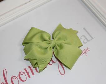 """Lime Green Large 4"""" Pinwheel Bow"""