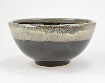 Shaving Bowl Lather Bowl Handmade Wheel Thrown Stoneware Clay Pottery Black & Cream