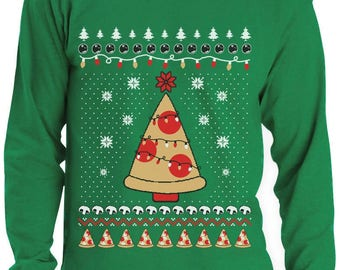 Pizza Ugly Christmas Sweater Funny Xmas Pizza Tree Long Sleeve T-Shirt
