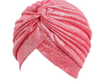 Red Glittered Hat Turban, Pleated Cap Beanie Hat, Stretch Head Wrap