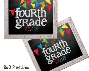 4th Grade First Day Back to School (Bonus Last Day, too!) Photo Props. Print this fall & spring. Printable 8x10 Kids Instant Download.