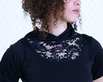 lace shirt with hood black hoodie womens tee shirt dark fashion indie fashion size S