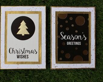 Merry Christmas - Hand made metallic greeting card