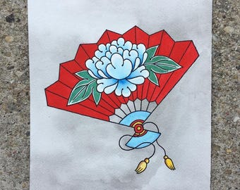Fan with Peony Painting