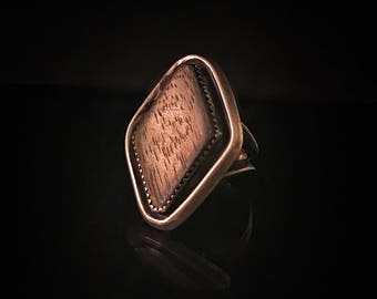 Antique Handmade Wood Ring, Wooden Jewelry, Sterling Silver Wood Ring, Statement Ring