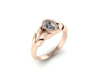 0.50ct Oval Diamond Leaves Engagement Ring, 14K Rose Gold Ring, Unique Leaf Engagement Ring, Rose Gold Boho Ring Nature Inspired Ring