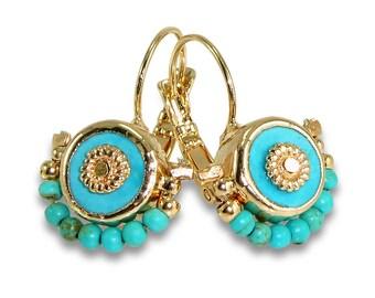 Turquoise Earrings, Turquoise Gold, Dangle Earrings, December Birthstone, Turquoise Drop Earrings, Gemstone Earrings, Turquoise Jewelry.