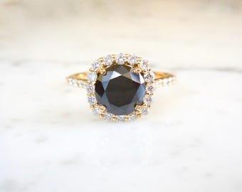 Black Diamond Ring, Square Diamond Halo Ring, Black Round Diamond, 14k Yellow Gold, Modern Engagement, Unique Diamond Engagement Ring, Goth