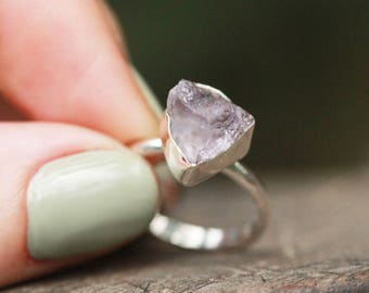 Ring, Amethyst, Sterling Silver Ring, Raw Amethyst Ring, Silver Ring, Boho, Amethsyt Jewelry, Boho Ring, Statement, Boho Jewelry,