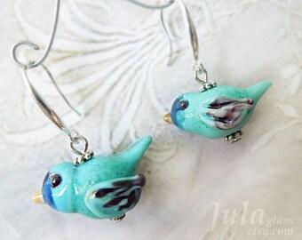 Bunting indigo, Bird Earrings, Lampwork birds,  Bird bead, Glass bird