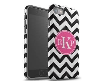 iPhone 7 Case, iPhone 7 Plus Case, Personalized, iPhone 8 Case, Samsung Galaxy Case, Galaxy S8 Case, Black Chevrons, Monogram Case