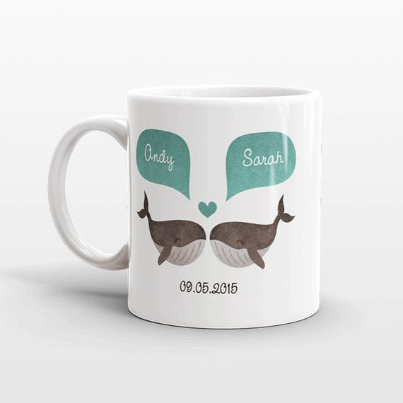 WHALE Mug Personalized Valentines Day Gift for Husband for Men Animal Couple Mug Engagement Gift Unique Coffee Mug Animal Mug Coffee Cup