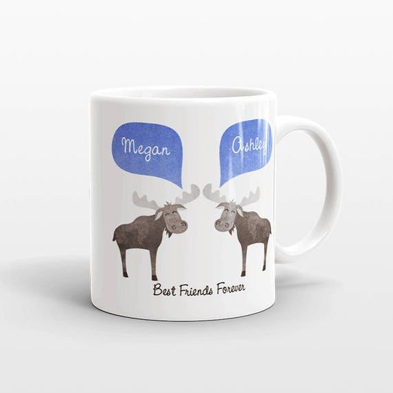 Best Friend Gift, Moose Mug, Personalized Best Friend Mug, Animal Best Friend Coffee Mug, Unique Friendship Gift Best Friend Birthday Gift