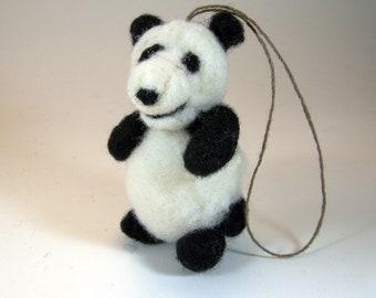 Adorable panda ornament/needle felted panda bear/panda bear hanging ornament/panda rear view mirror charm/black&white bear/panda tree decor