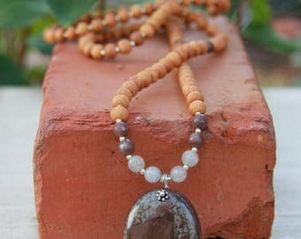Dolomite Sandalwood Mala Exclusive One-of-a-Kind - Meditation Inspired Yoga Beads / BOHO chic Mala Beads