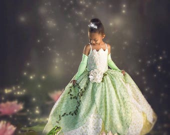 Tiana Costume Princess and The Frog Gown Tutu Dress
