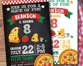 Pizza Party Invitation, Pizza Birthday Invitation, Little chef invitation, Cooking party Invitations, DIGITAL, 2 Options