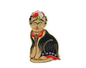 Frida Cat Enamel Pin -  cat pin - cat enamel pin - artist enamel pin - art pin