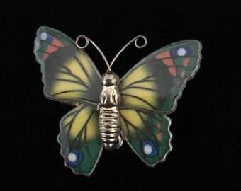 Vintage 1950's Enamel Baked Gold Tone Butterfly Pin/Brooch (JT2)