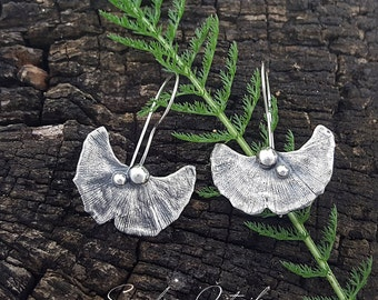Silver ginkgo leaf earrings, fine silver earrings, real leaf earrings, oxidized silver earrings, big ginkgo earrings, big dangle earrings