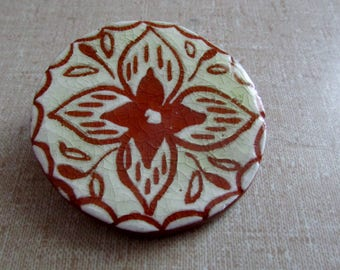 Vintage Ceramic Pin, Unique Hand Made, Brown Clay White Glaze, Hand Done, White & Brown Brooch, 70s Boho Jewelry ~ BreezyTownship.etsy.com