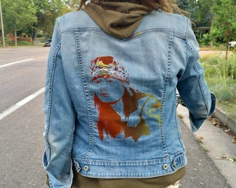 Up-cycled OOAK Painted Embroidered Axl Rose Guns N Roses Jean Jacket Levi Rock Star