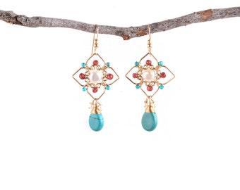 Geometry Earrings, Turquoise Pearls Garnet Earrings,Ethnic Earrings,Chandelier Earrings,Turquoise Earrings,Geometry Jewelry, 14K Gold Filled