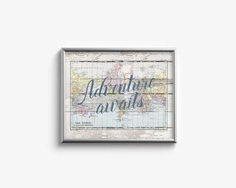 World map, quote printable digital art, Adventure Awaits, Rustic Wood effect, Horizontal, Inspirational, Gallery wall - SKU:2906