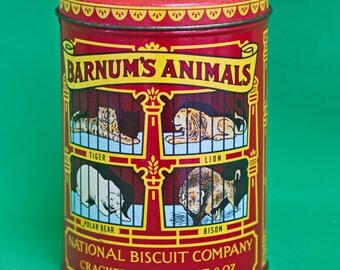 """Vintage (1979) Round National Biscuit Company """"Barnum's Animals"""" Collectible Tin"""