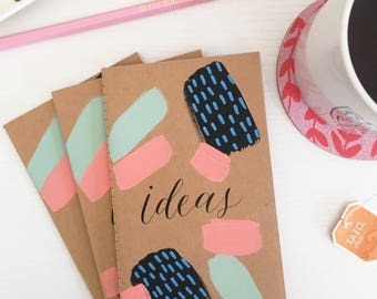 "Ideas mini journal | Hand-painted 3.5"" x 5.5"" notebook  