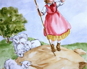 Little Bo Peep Watercolor